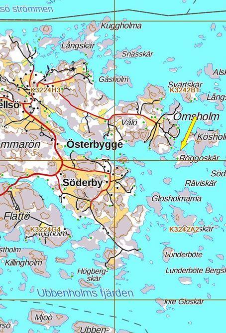 Strandområde på holmen Röggoskär i Hellsö, Kökar.