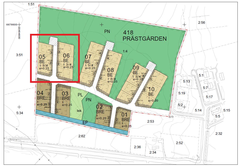 Nyproduktion av bostadshus vid nytt bostadsområde i Hammarland